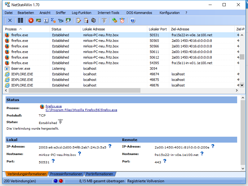 Screenshot vom Programm: NetStat4Win